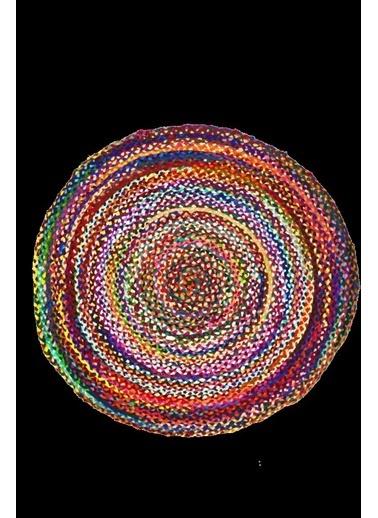 Giz Home Bolero Jüt Örgü Halı 120X120 Y14-2009 Yuvarlak Çok Renkli Renkli